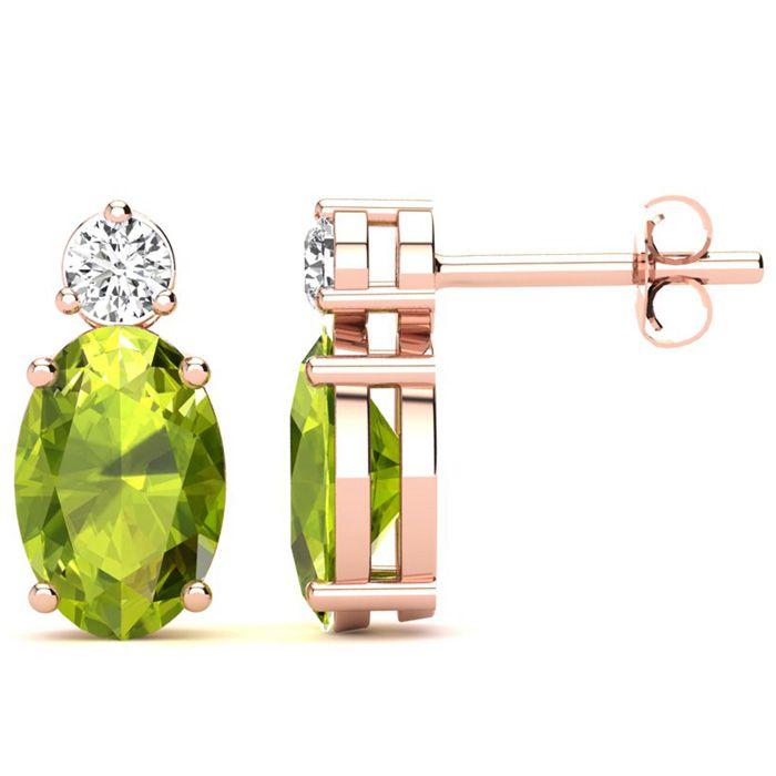 1 3/4 Carat Oval Peridot and Diamond