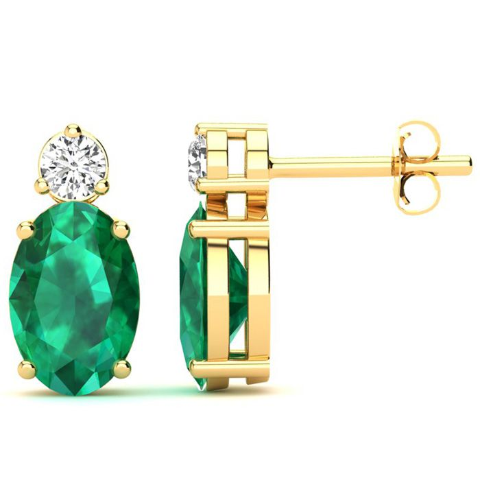 1 1/2 Carat Oval Emerald and Diamond Stud Earrings In 14 Karat Yellow Gold