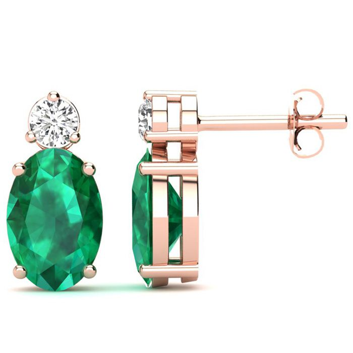 1 1/2 Carat Oval Emerald and Diamond Stud Earrings In 14 Karat Rose Gold