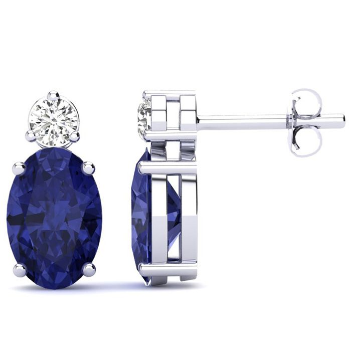 2 Carat Oval Tanzanite and Diamond Stud Earrings In 14 Karat White Gold