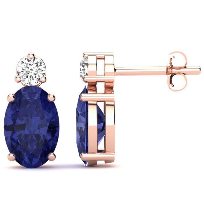 2 Carat Oval Tanzanite and Diamond Stud Earrings In 14 Karat Rose Gold