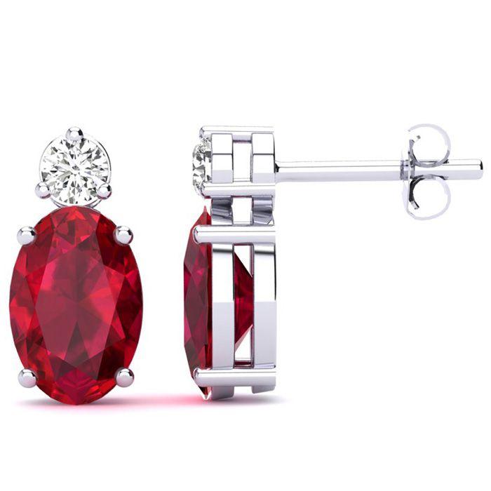2 Carat Oval Ruby and Diamond Stud