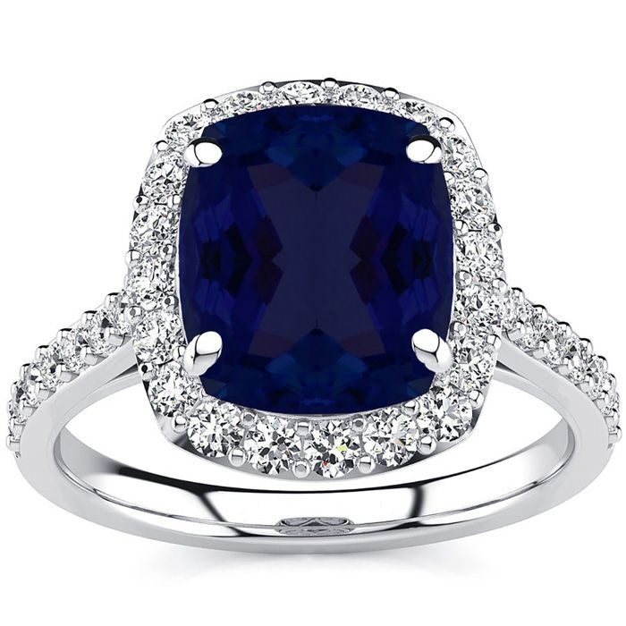 5 Carat Cushion Cut Sapphire and Halo Diamond Ring In 18K White Gold