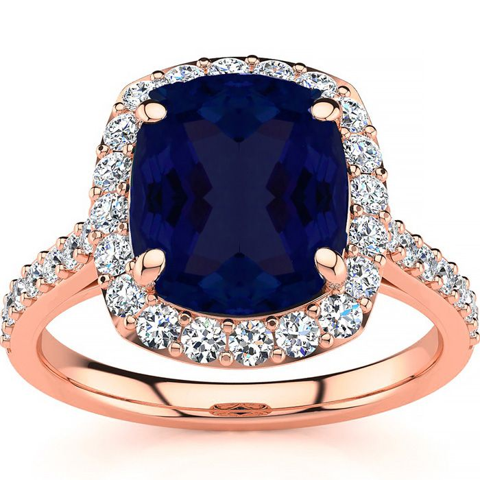5 Carat Cushion Cut Sapphire and Halo Diamond Ring In 18K Rose Gold