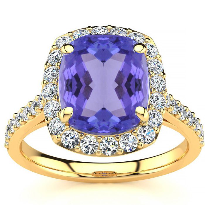 4 1/2 Carat Cushion Cut Tanzanite and Halo Diamond Ring In 18K Yellow Gold