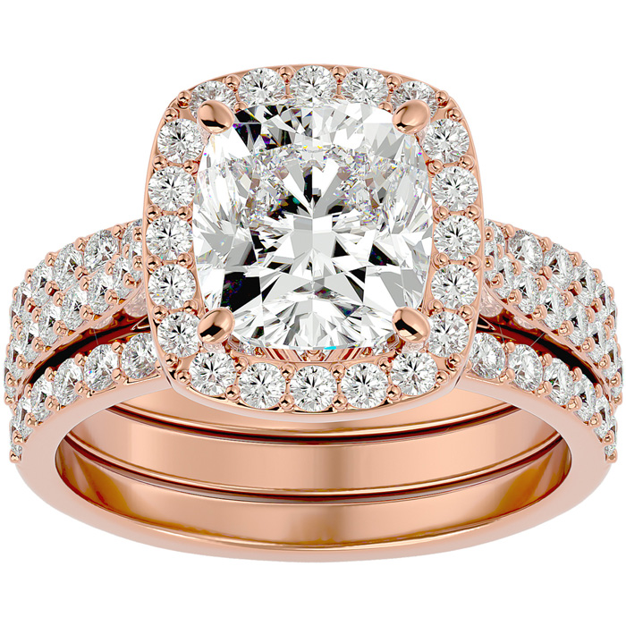 4 1/2 Carat Cushion Cut Halo Diamond Bridal Set in 14 Karat Rose Gold