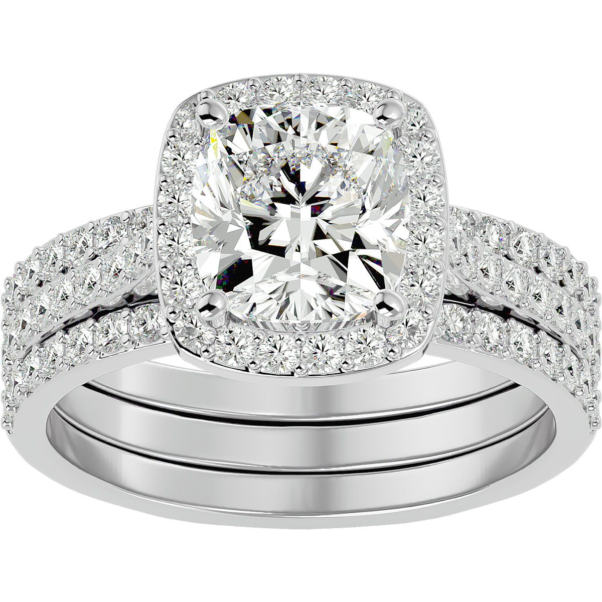 3 Carat Cushion Cut Halo Diamond Bridal Set in 14 Karat White Gold