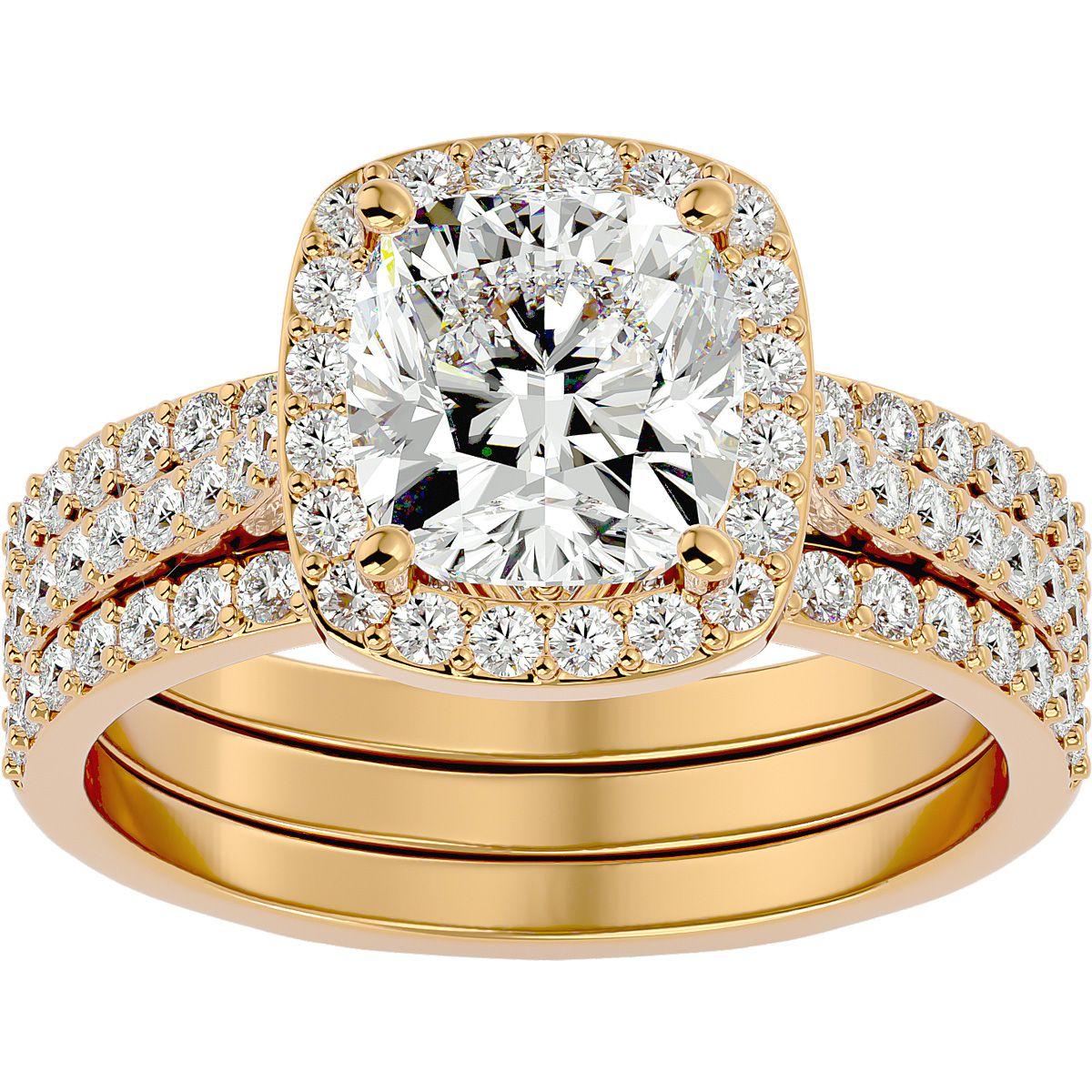 3 Carat Cushion Cut Halo Diamond Bridal Engagement Ring Set in 14K Yellow Gold (16 g), , Size 4 by SuperJeweler