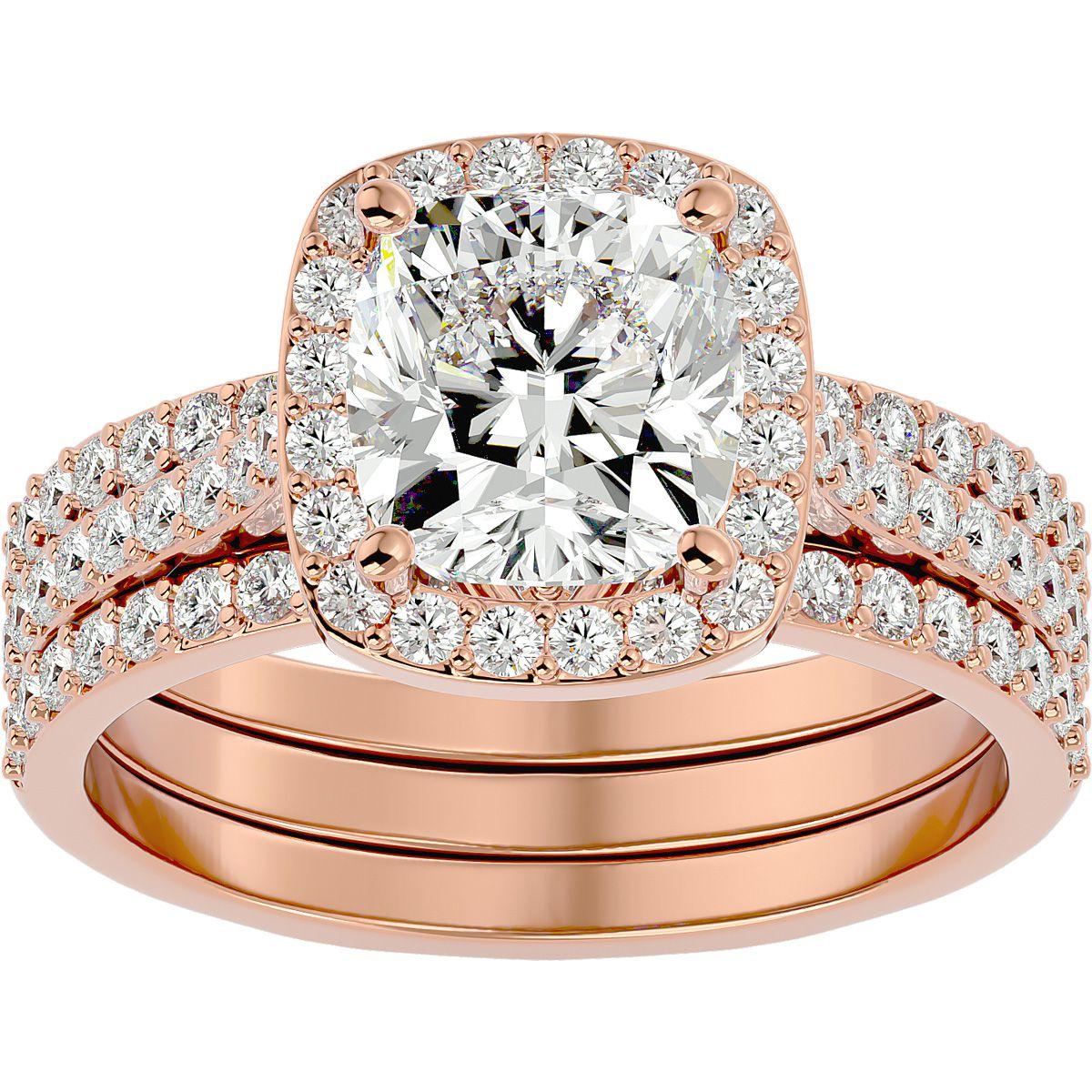 3 1/4 Carat Cushion Cut Halo Diamond Bridal Engagement Ring Set in 14K Rose Gold (16 g) (