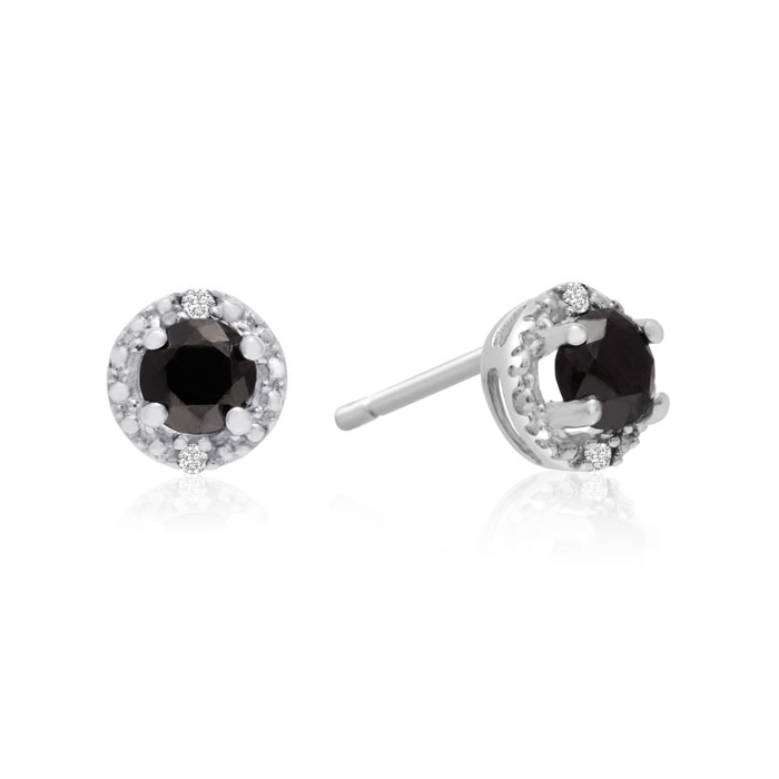 1/2 Carat Black & White Gold Diamond Earrings, Sterling Silver by SuperJeweler