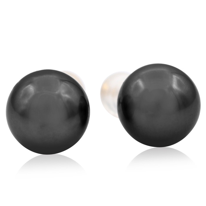 9.5-10MM AAA Cultured Black Tahitian Pearl Stud