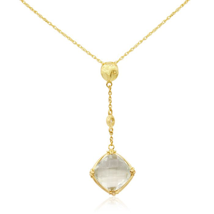 5 Carat Briolette Green Amethyst and White Topaz Necklace In 14K Yellow Gold..
