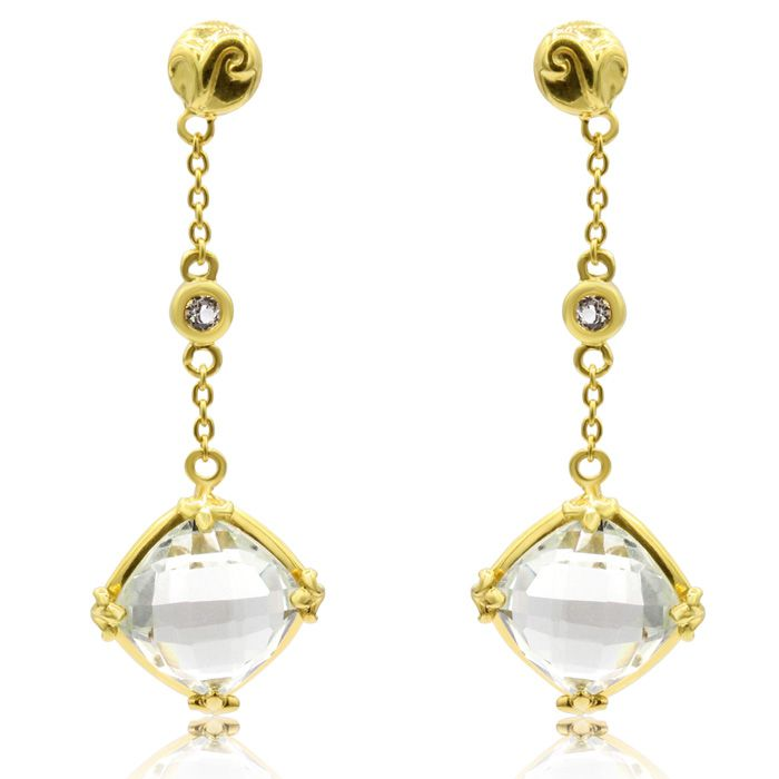2 1/2 Carat Green Amethyst and White Topaz Drop Earrings In 14 Karat Yellow ..