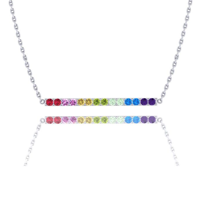 1 Carat Natural Gemstone Rainbow Bar Necklace In 14K White Gold