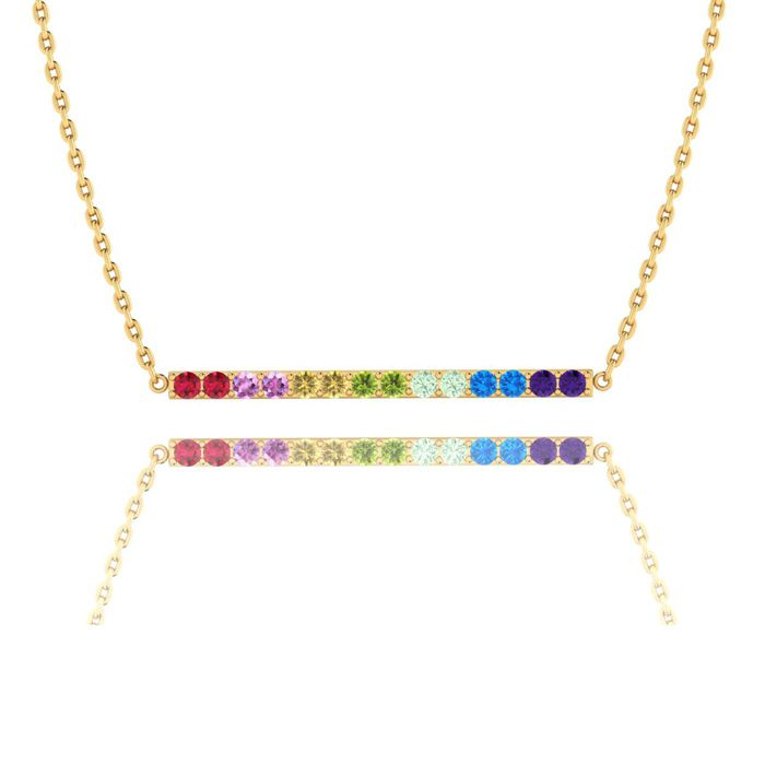1 Carat Natural Gemstone Rainbow Bar Necklace In 14K Yellow Gold