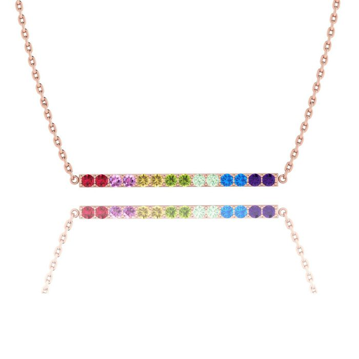 1 Carat Natural Gemstone Rainbow Bar Necklace In 14K Rose Gold