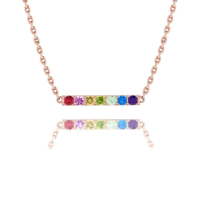 1/2 Carat Natural Gemstone Rainbow Bar Necklace In 14K Rose Gold