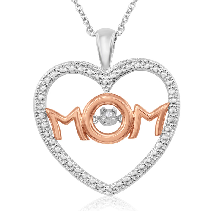 1 Diamond I Love Mom Heart Necklace In Platinum Overlay and Rose Gold, 18 Inches