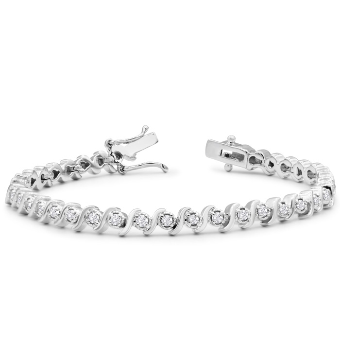 1 Carat Diamond S Bracelet, 7 Inches