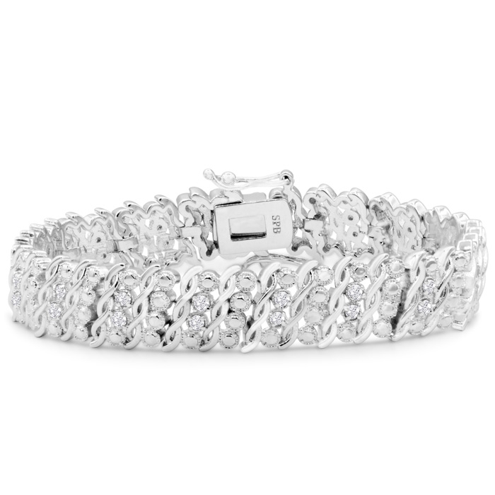 Heavy 1 Carat Diamond Bracelet, 7 Inches