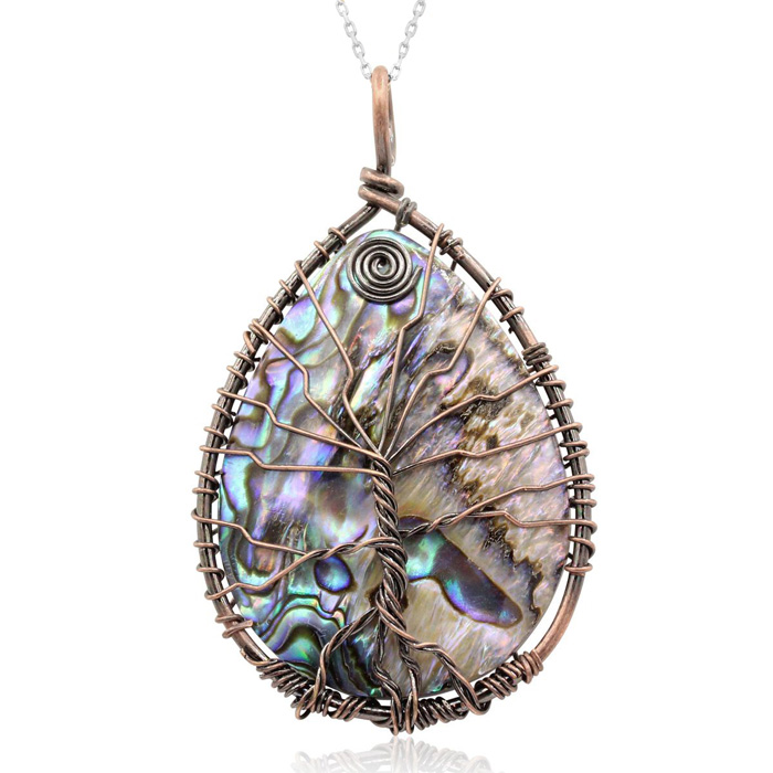 Sterling Silver Tree of Life Wire Wrapped Abalone Teardrop Necklace, 18 Inches