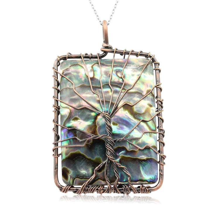 Sterling Silver Tree of Life Wire Wrapped Abalone Necklace, 18 Inches