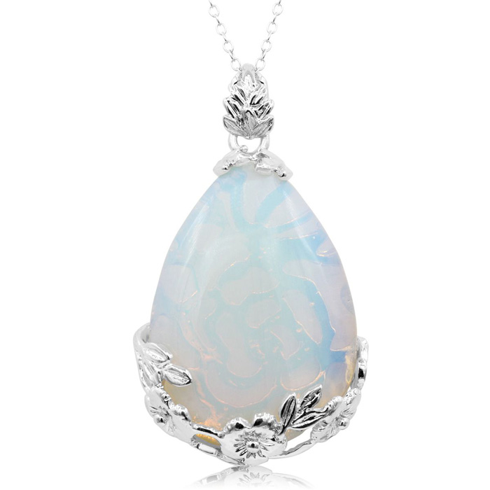 Sterling Silver Opal Teardrop Necklace With Rose Accents, 18 Inches