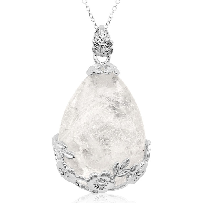 Sterling Silver Quartz Teardrop Necklace With Rose Accents, 18 Inches
