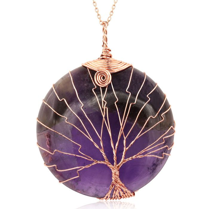 Rose Gold Tree of Life Wire Wrapped Amethyst Circle Necklace, 18 Inches