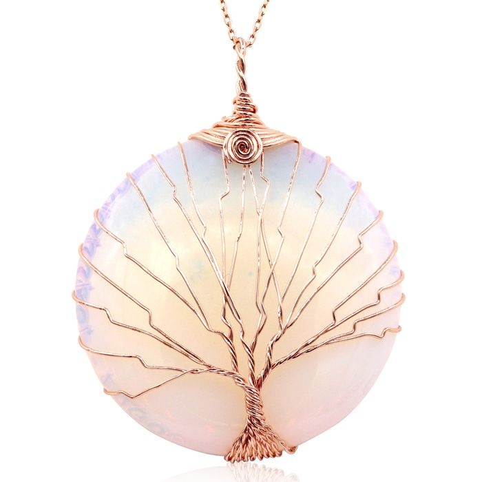 Rose Gold Tree of Life Wire Wrapped Created Opal Circle Necklace, 18 Inches