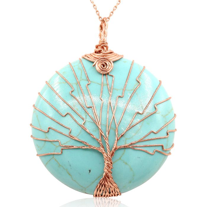Rose Gold Tree of Life Wire Wrapped Turqoise Circle Necklace, 18 ...