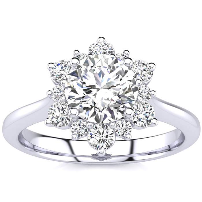 1 Carat Floral Halo Diamond Engagement Ring in 14k White Gold (3.60 g) (, SI2-I1), Size 4 by SuperJeweler