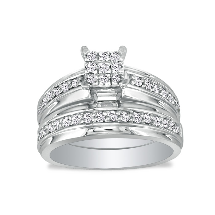 1ct Princess Shaped Head Diamond Bridal Set in 10k White Gold