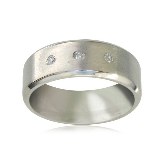 Titanium Wedding Band With 3 Nice Diamonds, Size 7.5 to 14