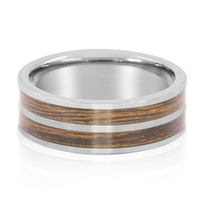 8MM Ethically Sourced Koa Wood and Tungsten Carbide Double Row Ring