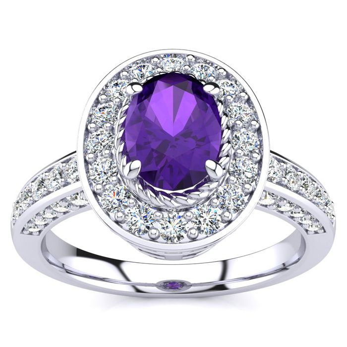 1 1/2 Carat Oval Shape Amethyst and Halo Diamond Ring In 14 Karat White Gold