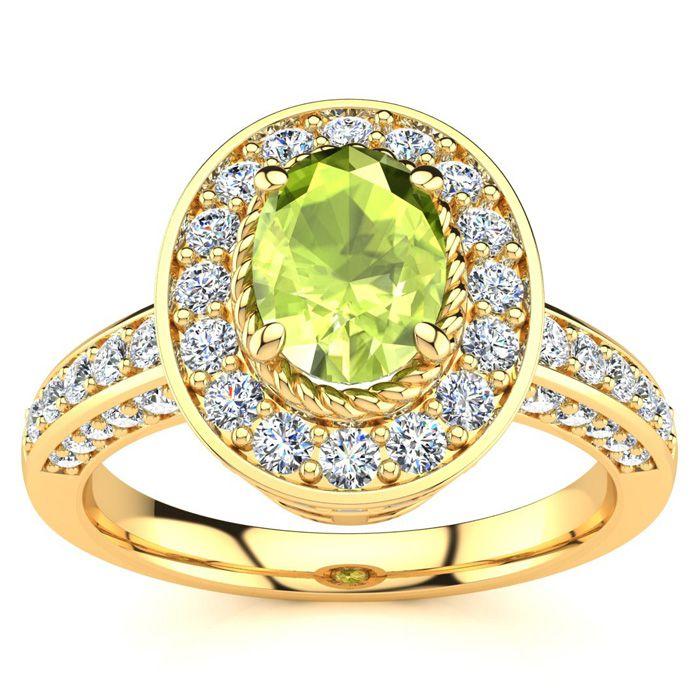 1.5 Carat Oval Shape Peridot & Halo 71 Diamond Ring in 14K Yellow Gold (5.2 g), , Size 4 by SuperJeweler