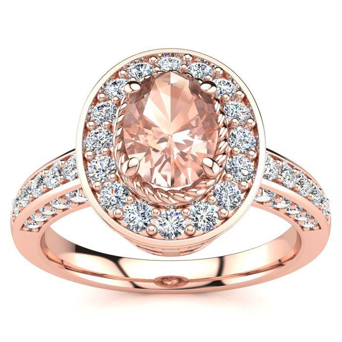1 1/2 Carat Oval Shape Morganite and Halo Diamond Ring In 14 Karat Rose Gold
