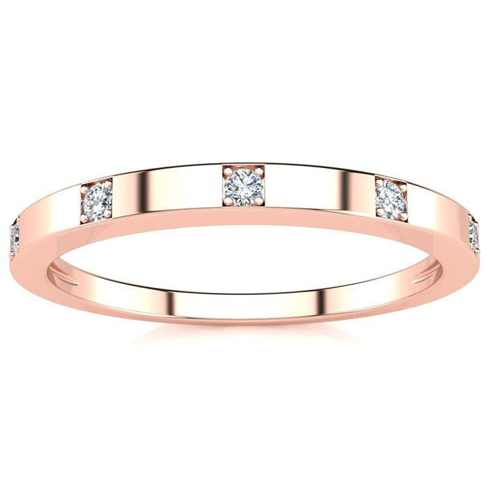 .05 Carat Five Diamond Wedding Band in Rose Gold (1.3 g), , Size 4 by SuperJeweler