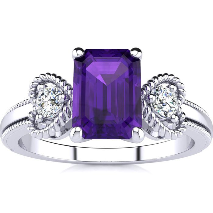 1 Carat Emerald Cut Amethyst and Two Diamond Heart Ring In 10 Karat White Gold