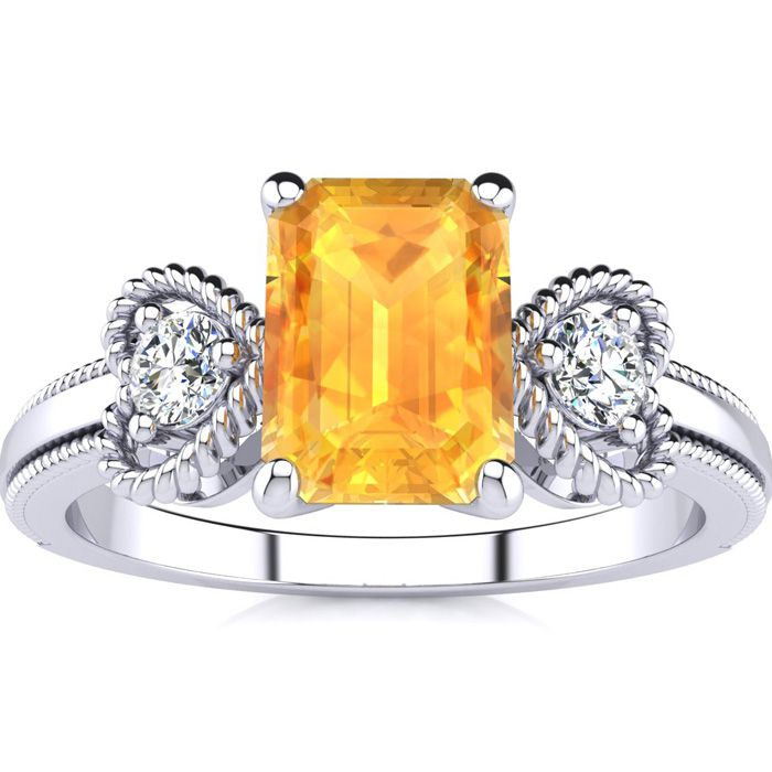 1 Carat Emerald Cut Citrine and Two Diamond Heart Ring In 10 Karat White Gold