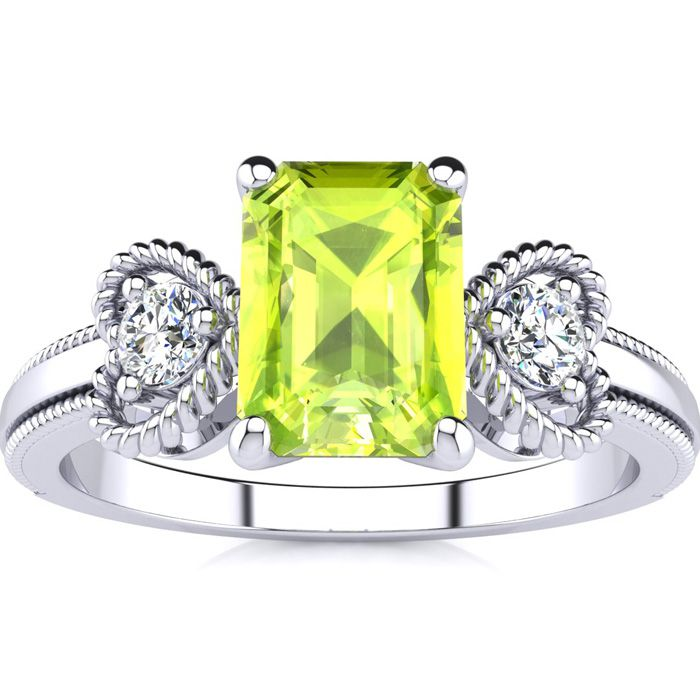1 1/4 Carat Emerald Cut Peridot and Two Diamond Heart Ring In 10 Karat White Gold