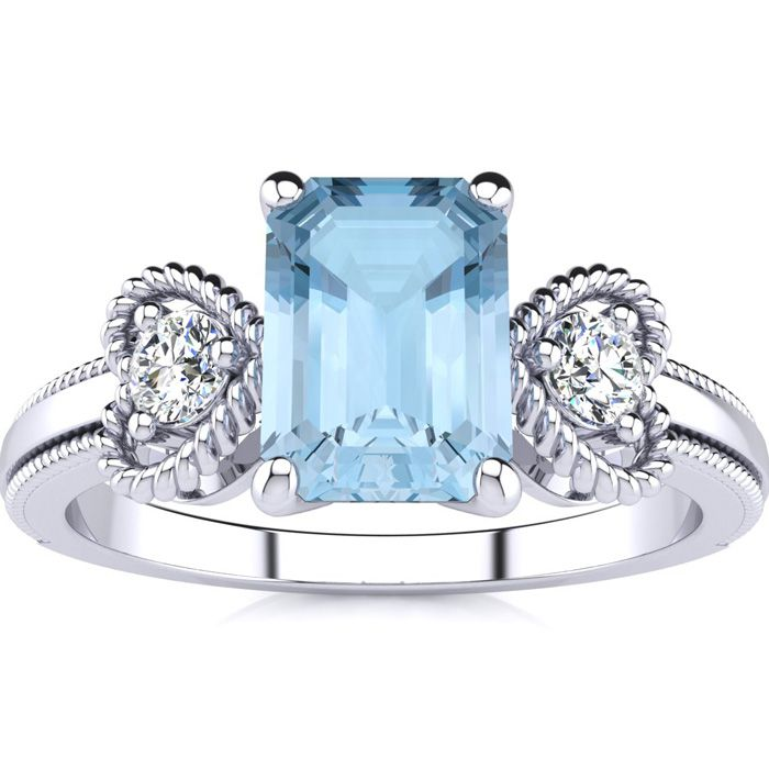 1 Carat Emerald Cut Aquamarine and Two Diamond Heart Ring In 10 Karat White Gold