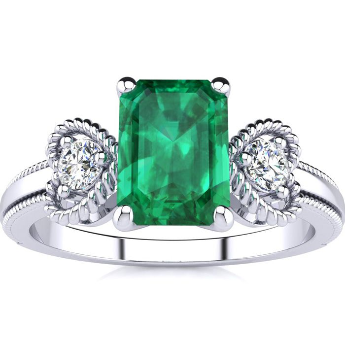1 Carat Emerald Cut Emerald and Two Diamond Heart Ring In 10 Karat White Gold