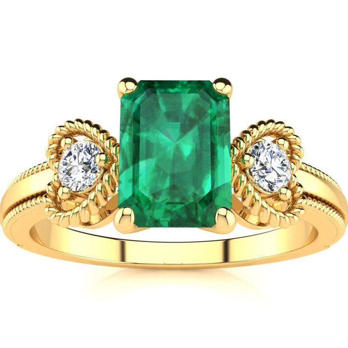 1 Carat Emerald Cut Emerald and Two Diamond Heart Ring In 10 Karat Yellow Gold