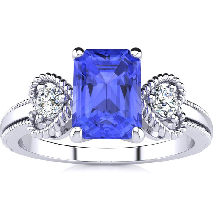 1 1/4 Carat Emerald Cut Tanzanite and Two Diamond Heart Ring In 10 Karat White Gold