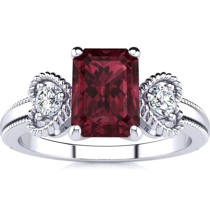 1 1/2 Carat Emerald Cut Garnet and Two Diamond Heart Ring In 10 Karat White Gold