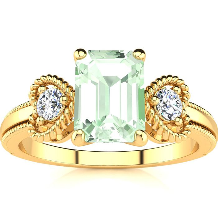 1 Carat Emerald Cut Green Amethyst and Two Diamond Heart Ring In 10 Karat Yellow Gold