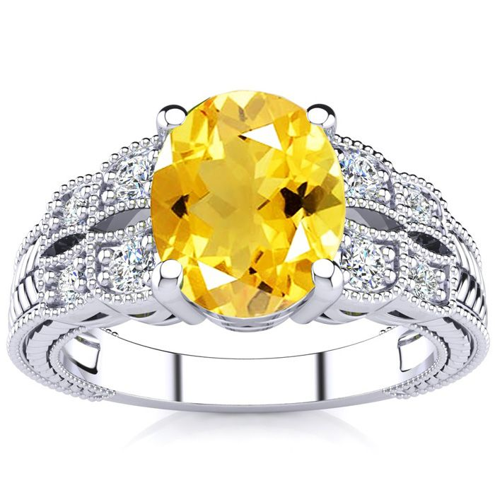 1 3/4 Carat Oval Shape Citrine and