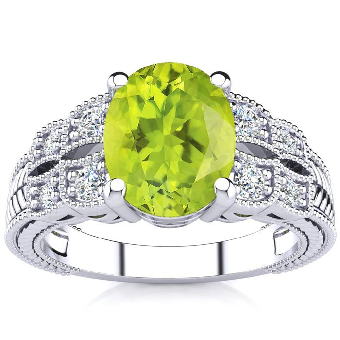2 Carat Oval Shape Peridot and Diamond